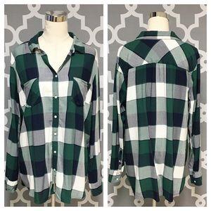 ➕ Merona Green Plaid Flannel Button Down 7P